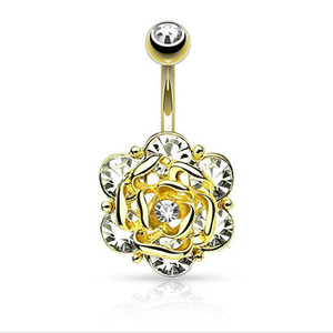 361L Stainless Steel Flower Crystal Navel Bars Gold Belly Button Ring Rose Navel Body Piercing Jewelry