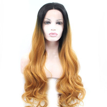 Ombre Gold Brown Color Curly Synthetic Hair Lace Front Wigs