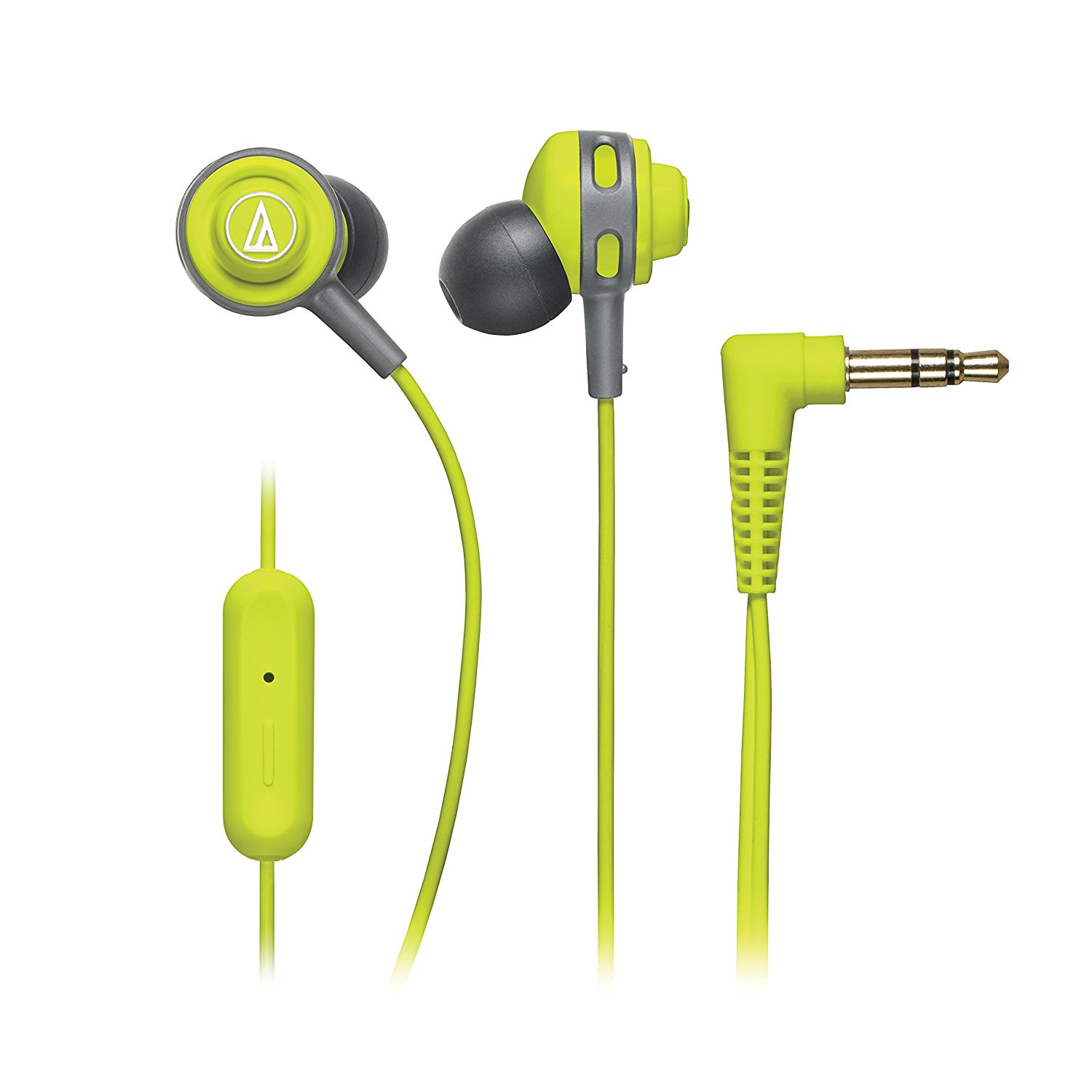 Audio-Technica SonicSport In-ear Headphones with In-line Mic & Control - Stereo - Lime Green - Mini-phone - Wired