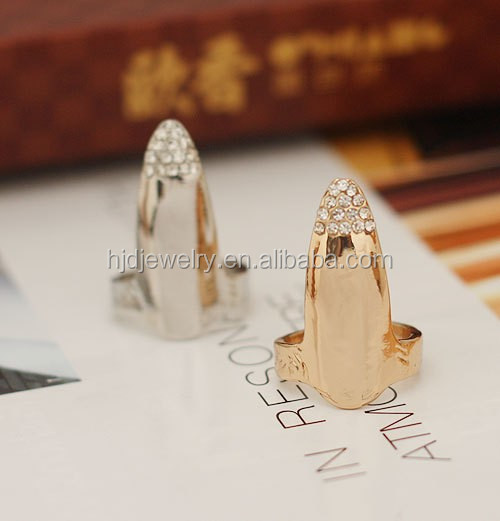 Gold ring designs for girls lastest fashion charm nail tip ring