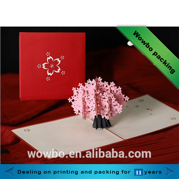 Unique Cardboard Birthday Greeting Card With 3d Sakura Buy Happy