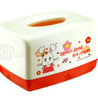 Decorative rectangle customized cartoon plastic facial tissue box