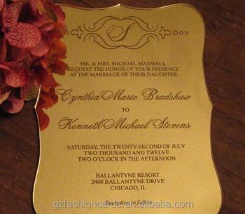 Engrave Gold Mirror Acrylic Wedding Invitations