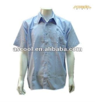 f4c0b817a70 Promotional Middle School Uniform Bule White Boy s Short Sleeve Oxford Shirt