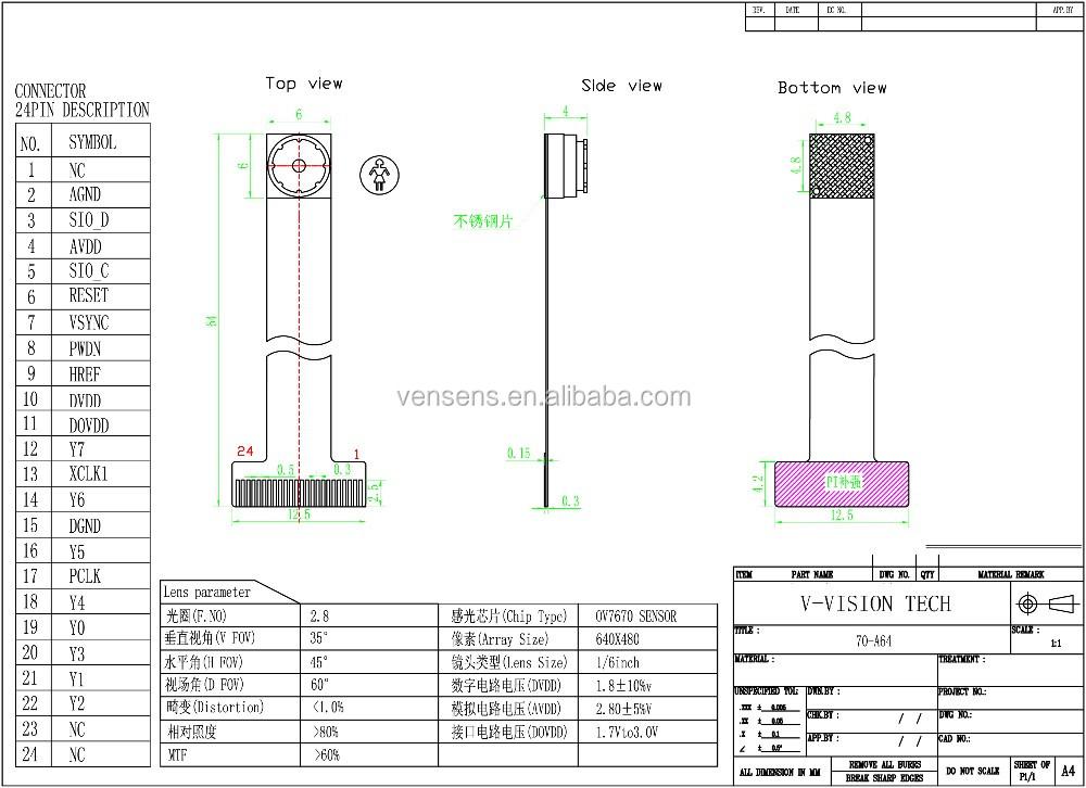 24pin dvp camera module ov7670 lens vga module with factory price