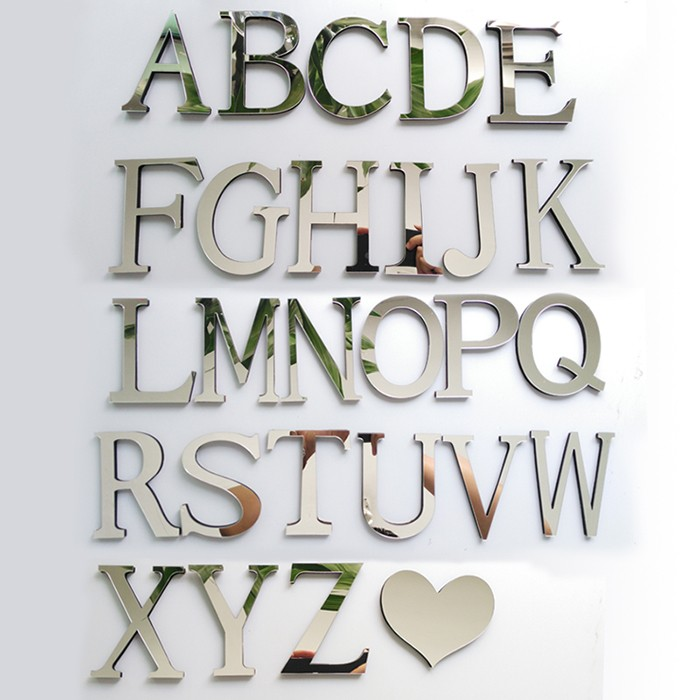 Custom Simple Laser Cut Gold Acrylic Letter Mirror Wall ...
