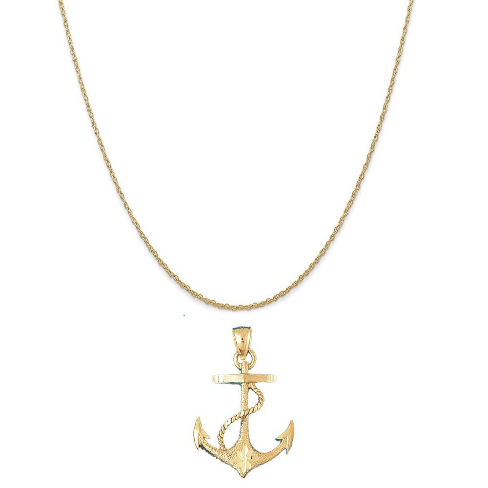 14k Yellow Gold Soldier on Horse Pendant on a 14K Yellow Gold Rope Box or Curb Chain Necklace