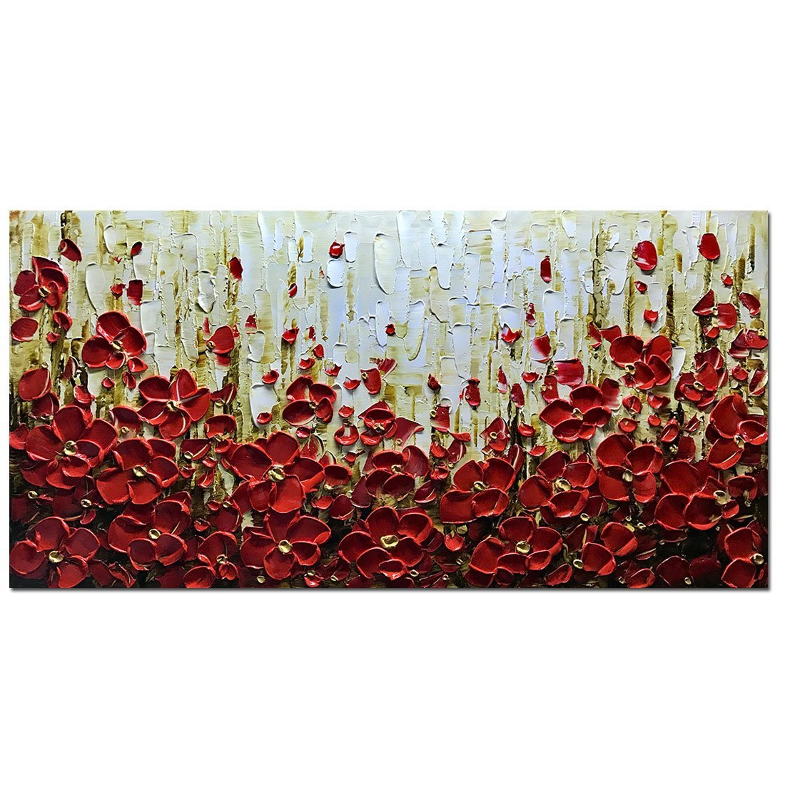 Metuu Modern Canvas Paintings, Texture Palette Knife Red Flowers Paintings Home Decor Wall Art Colorful 3D Flowers Wall Decoration Abstract Painting Wood Inside Framed Ready to Hang 20x40inch