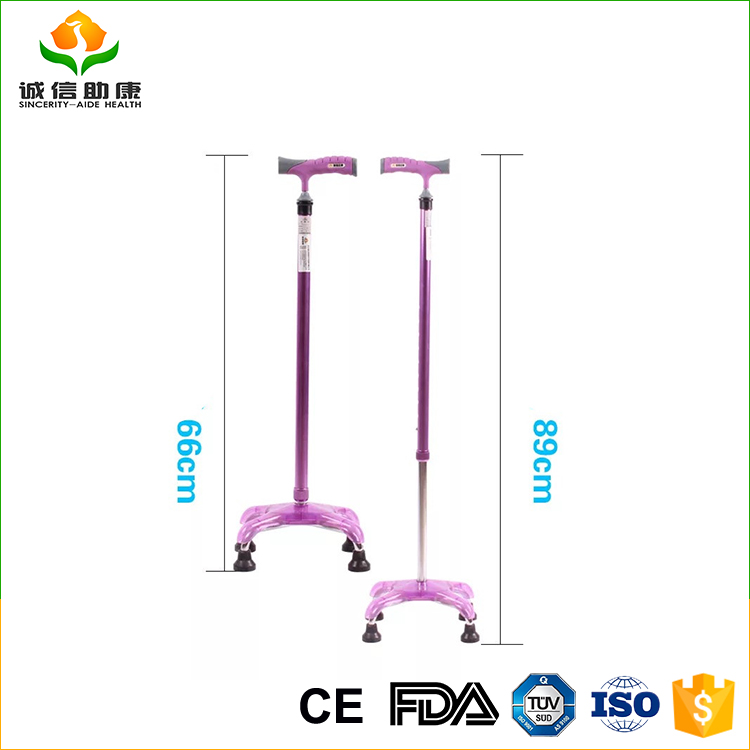Color lightweight adjustable aluminum alloy tube walking cane free standing for elder and handicapped or patient