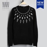 Pattern round neck men 's wool slim printing knitting hand made sweater