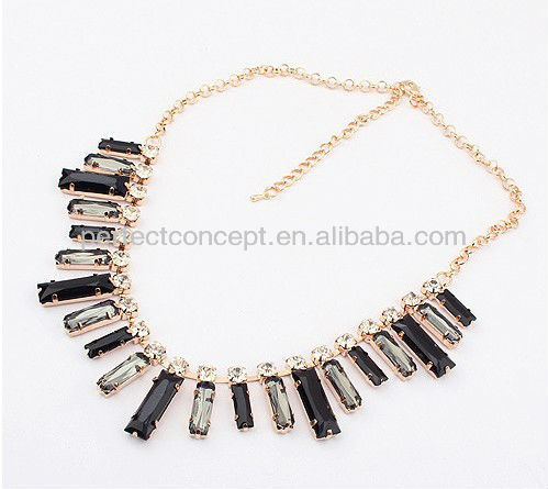 black and black diamond alternately rectangle rhinestone necklace jewellery