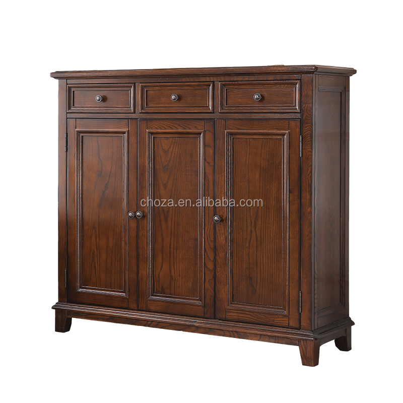 F40681A-1 French antique 3 doors shoe storage cabinet solid wood shoe cabinet