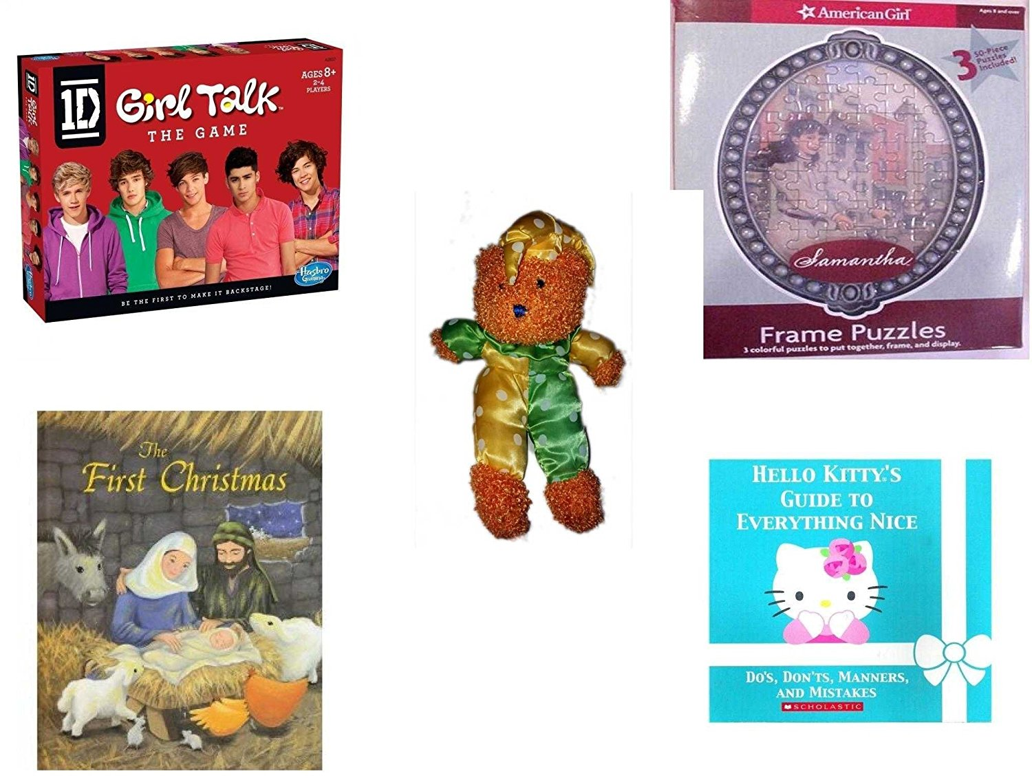 Girl's Gift Bundle - Ages 6-12 [5 Piece] - 1D Girl Talk The Game One Direction - American Girl Frame Puzzles Samantha. - Sugar Loaf Creations Jester Bear Plush - The First Christmas Hardcover Book -
