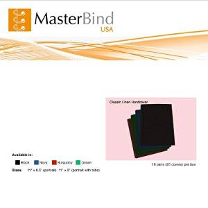 """MasterBind 11"""" x 8.5"""" Green Classic Linen Hard Covers - 20/BX"""