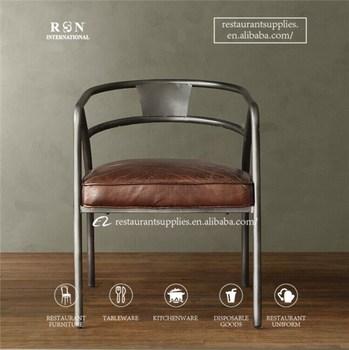 Vintage Antiken Industrie Restaurant Mobel Esszimmer Stuhl Leder Sattel Arm Stuhl Metallstuhl Buy Metall Stuhl Arm Esszimmer Stuhl Product On