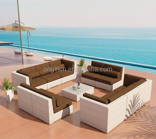 Cube Shaped High End Dubai Hotel Patio Leisure Sofa Rattan Surplus Garden Furniture  Outdoor