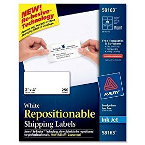 "Avery Consumer Products Mailing Labels,Shipping,Repositionable,2""x4""',250/BX,WE PROD-ID : 976791"