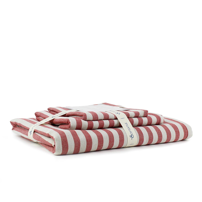 SOFTEXTILE 100% Cotton Muslin Gauze Towel Set (Red And White Stripes 1 Bath Towels 1 Hand Towels & 1 Washcloths - Retro Plaid Stripe Towel
