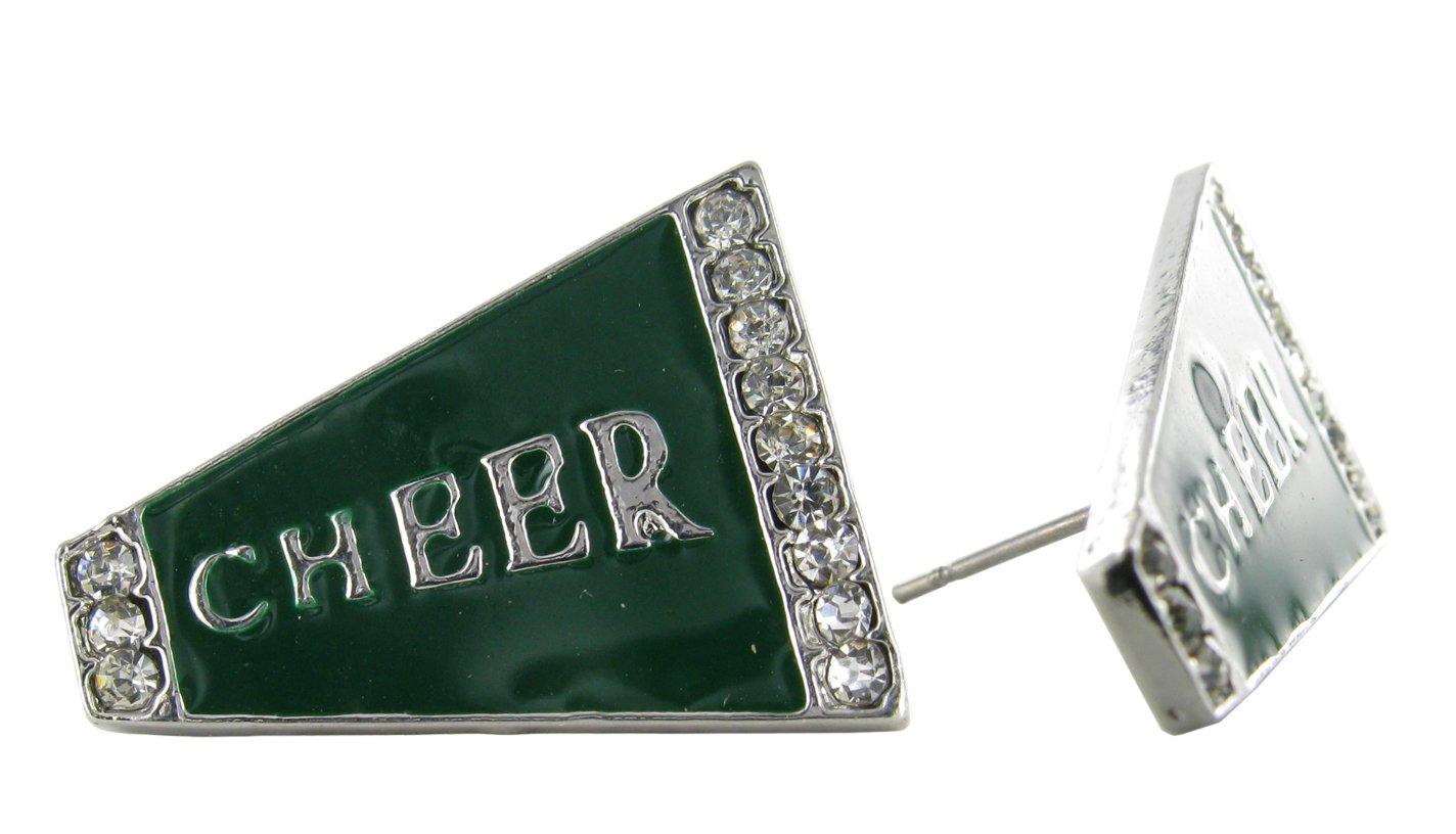 Flat Cheer Megaphone Rhinestone Stud Earrings - Dark Green Enamel with Clear Crystals