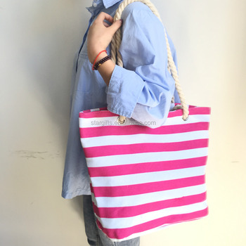 Natural Cotton Canvas Cloth Carry Red Stripe Tote Shopping Bag
