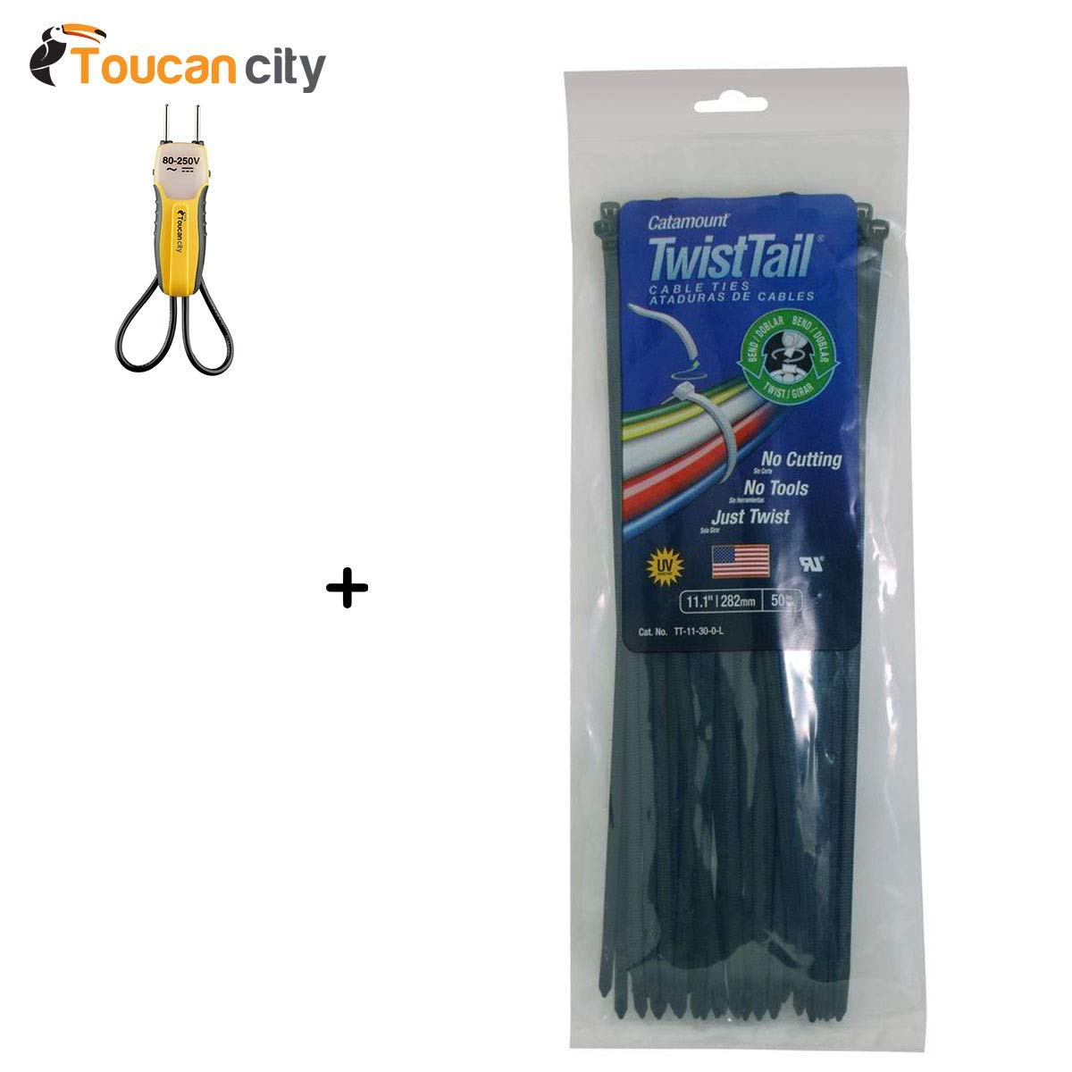 Toucan City Voltage Tester and Catamount 11 in. 30 lb. TwistTail Cable Tie, Black (Case of 20 Bags / 50 Ties per Bag) TT-11-30-0-L
