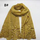 wholesale hollow weave floral long cotton scarf muslim women hijab arab shawl