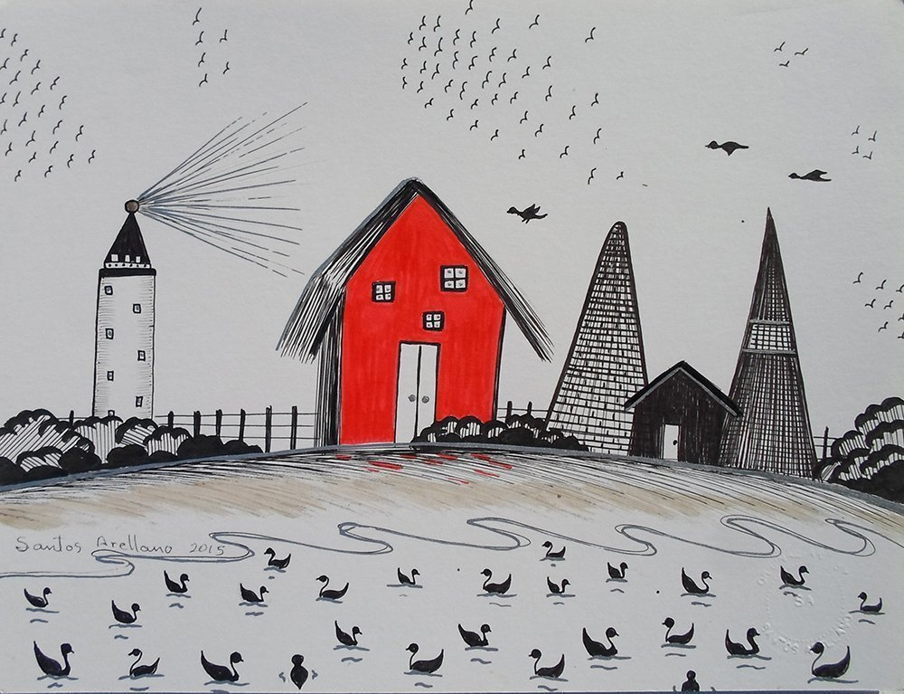"""Red Barn : Light House - ORIGINAL DRAWING - Black Waterproof Ink FANTASY DRAWING on Heavy White Paper - SIZE:12"""" x 9"""" - Signed by the Artist -"""