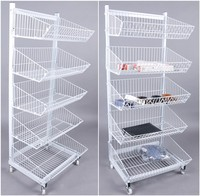 2016 wholesale white metal storage rack shelf with wheels
