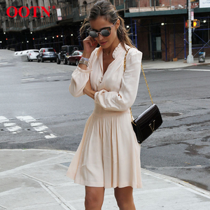 OOTN Short Ladies Spring Summer Casual Streetwear Female Ruffle Flare Dress Women Long Sleeve Elastic Mini Dresses Tunic Dress