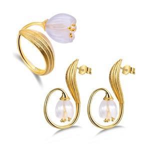 925 Sterling Silver Plating Natural Stone Lily of the Valley Flower Crystal Jewelry Set For Women