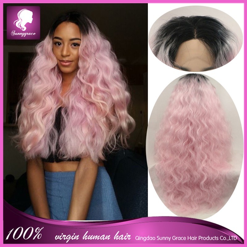 Ombre Pink Lace Front Wig 100 Indian Human Hair Full Lace Wigs With