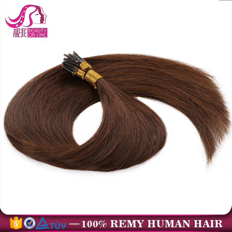 100% Wholesale Keratin Double Drawn Blonde Russian Remy Human Hair Brazilian I Tip Hair Extension
