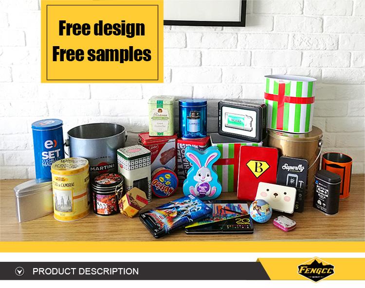 Promozione calda personalizzato impresso logo a colori piatto quadrato/rettangolo scatola di latta di metallo