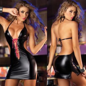 New Arrival Black Backless Teddy Erotic Sexy Underwear Leather Lingerie in china