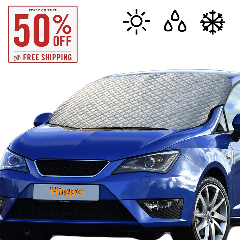 """Windshield Snow Cover, Extra Large & Thick Ice Cover Windproof with Door Flaps Protect Windshield and Wiper from Ice ,Snow, Frost,Sun in All Weather, Fit for Most Vehicle 62.99""""×43.30"""""""