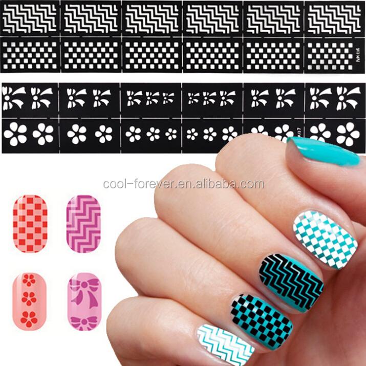 New Nail Art Stencil Sticker Sheet Nail Art Diy Template Sticker ...