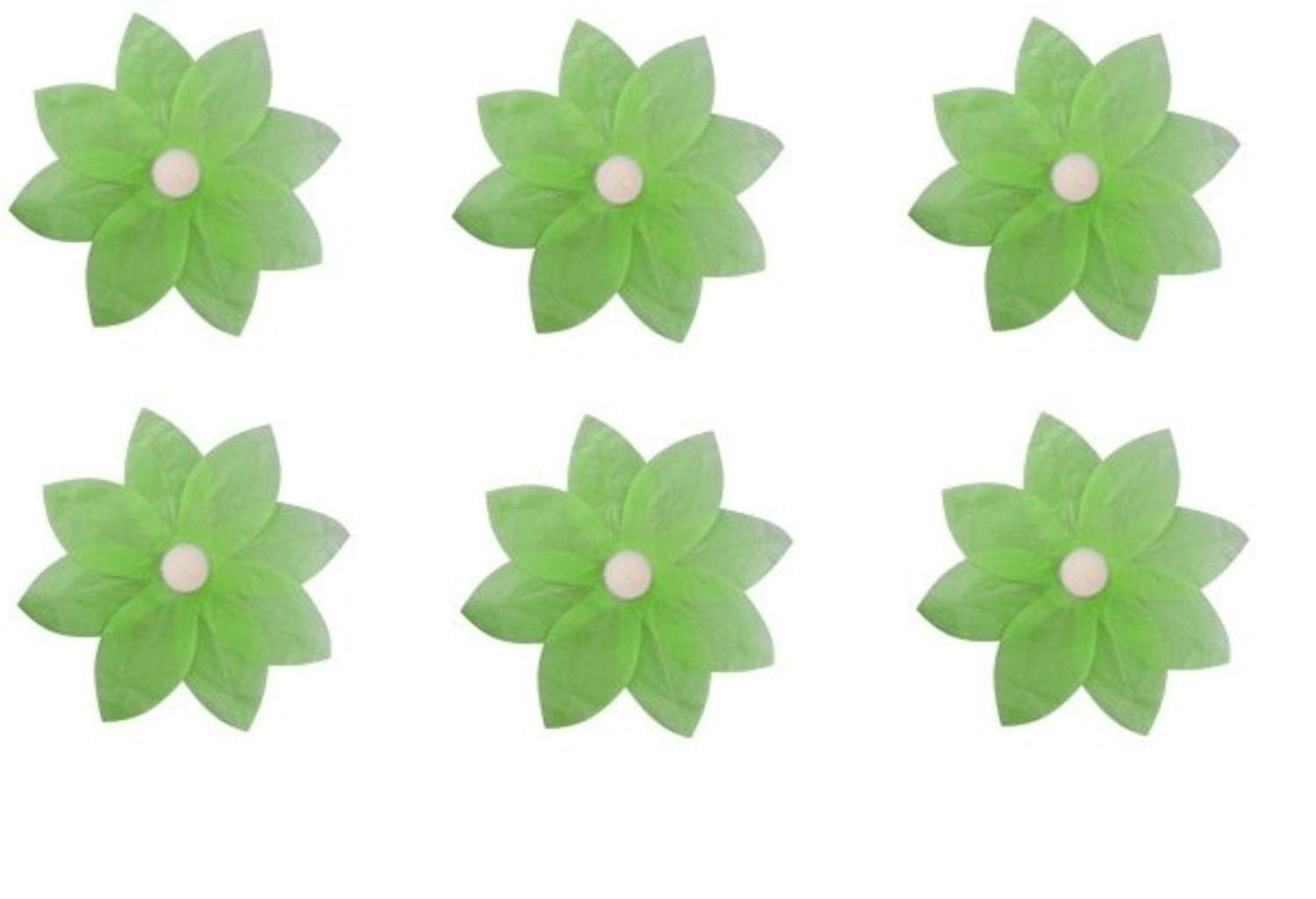 Pack of 6 Green Floating Lotus Paper Flower Outdoor Patio Decor Lanterns