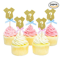 Amazon Baby Shower Partito Glitter Dorato Gender Reveal <span class=keywords><strong>Toppers</strong></span> Cupcake