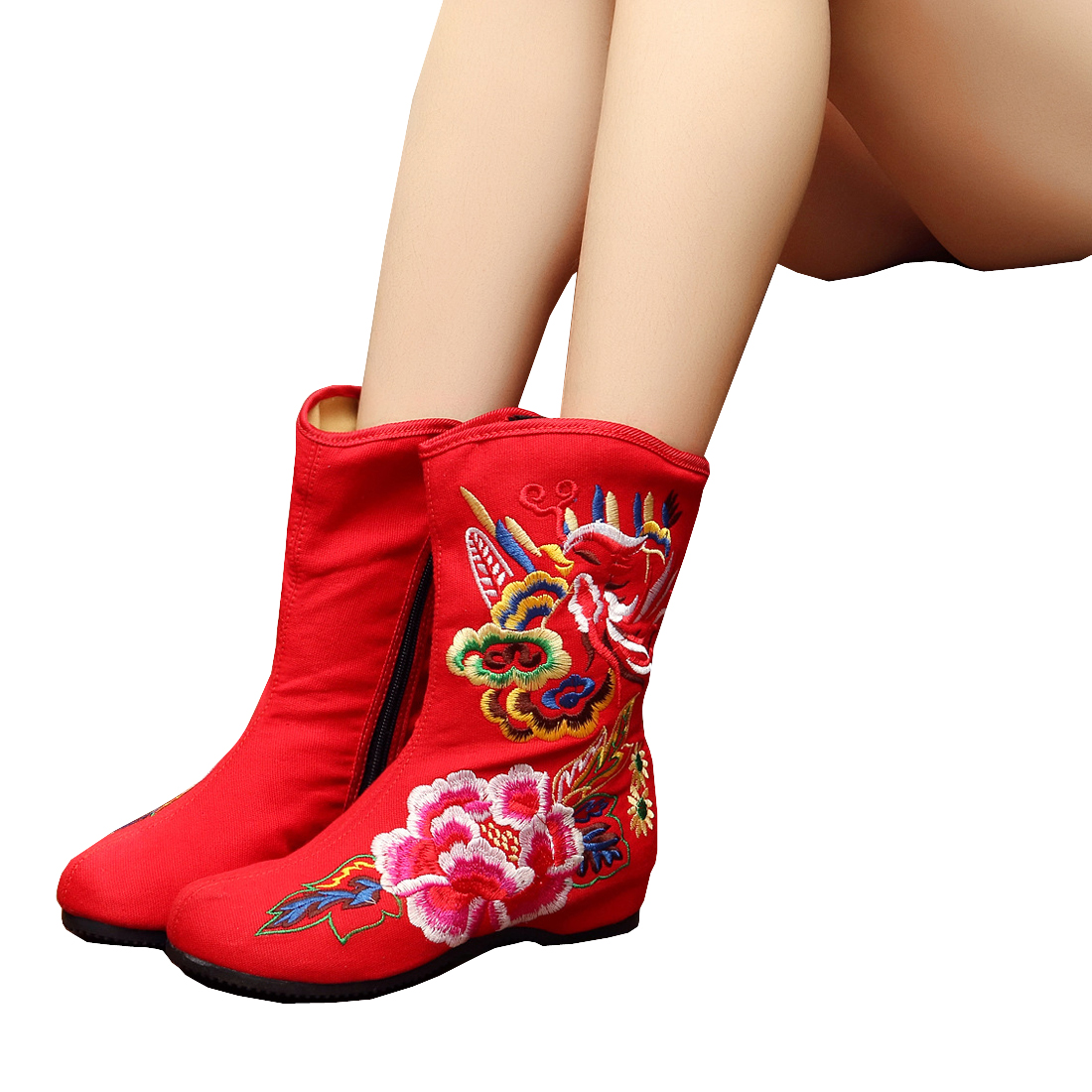 New Women National Shoes ZIPPER Embroidered Comfort Floral Beijing ...