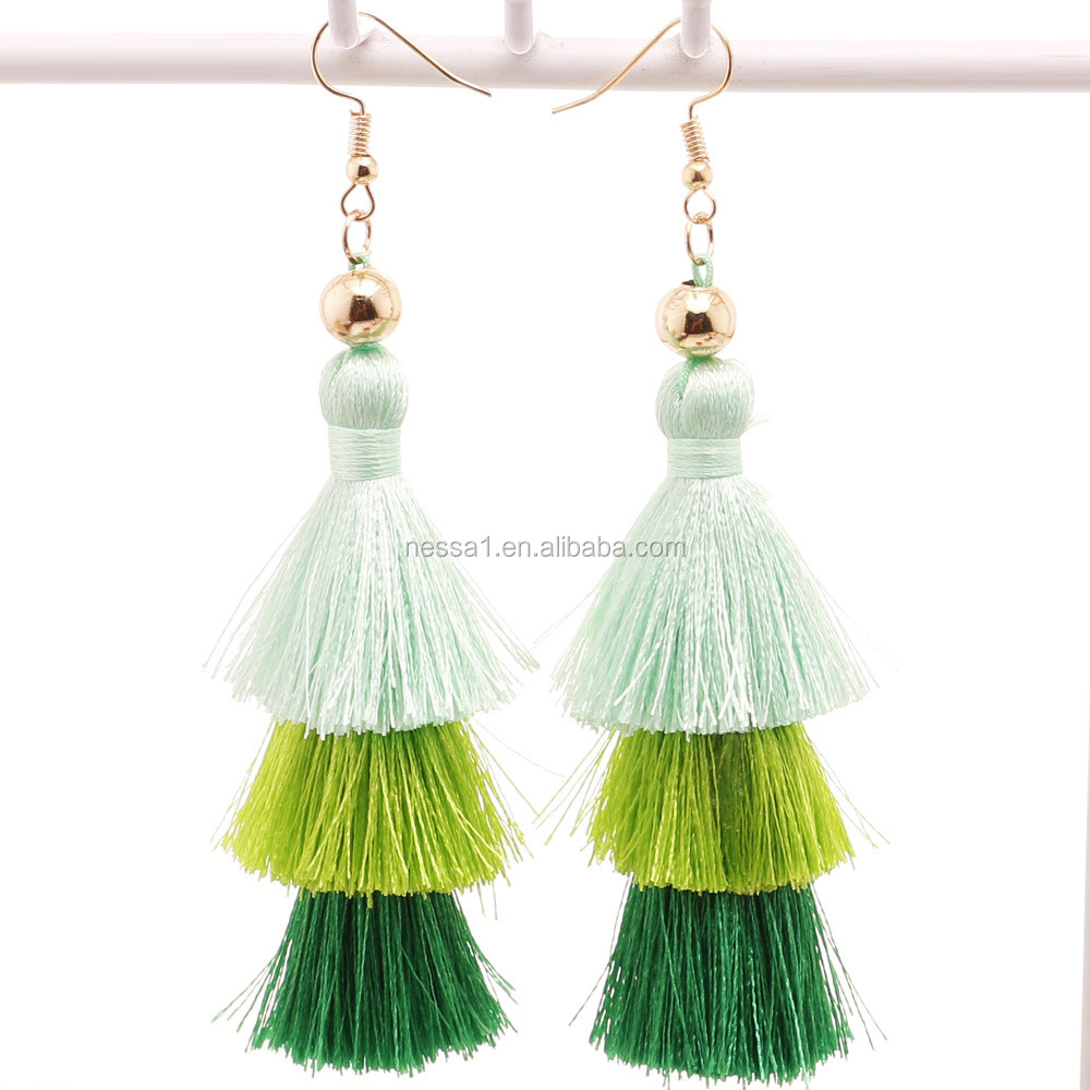 making fashion quality silk store beautiful earrings golden