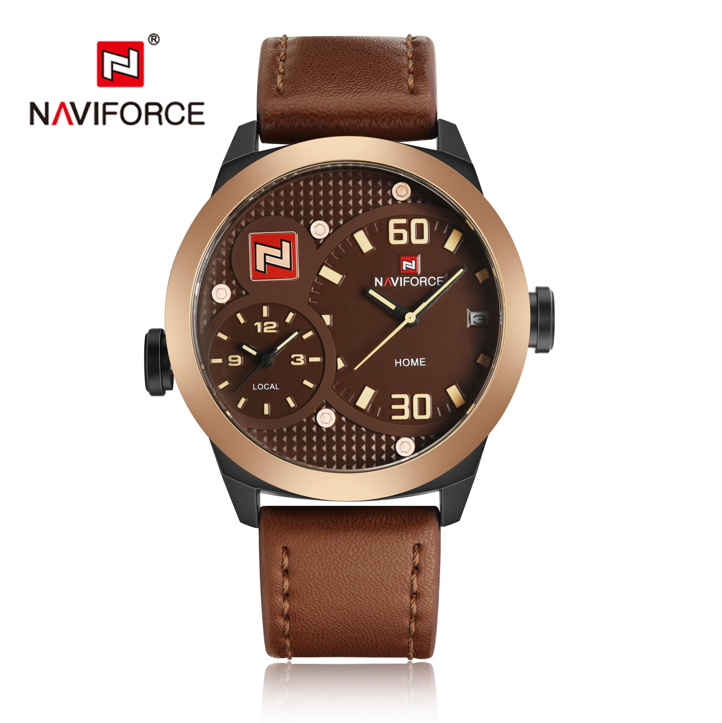 Naviforce 9092 Men Watch Water proof Sport Genuine Leather Charm Wristwatch фото