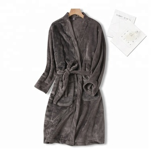 gery unisex woman winter flannel hotel robe casual robe