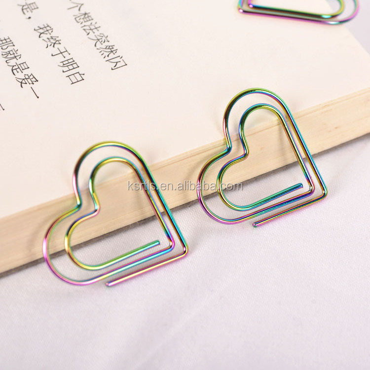 New design hotsale Colorful heart Shaped rainbow Paper <strong>Clip</strong> in stock
