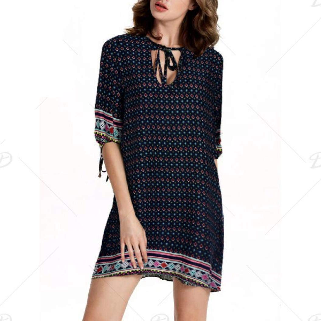 Get Quotations · Ecurson Women Summer Keyhole Three Quarter Sleeve Print  Party Boho Dress (S) 059bb5ce83c3
