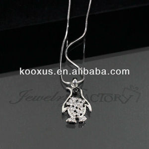 Rhinestone Cute Penguin Necklace fashion jewelry wholesale