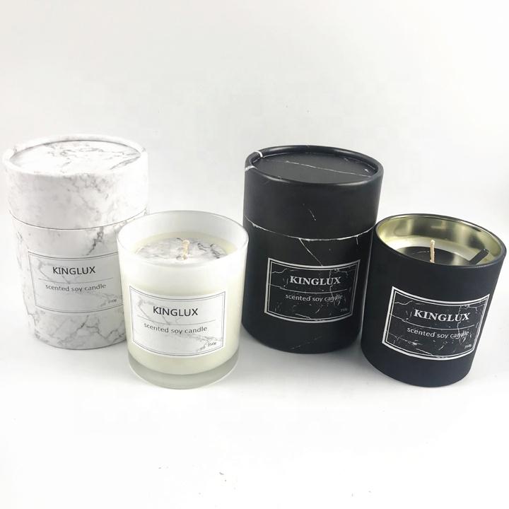Kinglux 300ml לבן ושחור זכוכית צנצנת נר מיכל עם אריזת מתנה