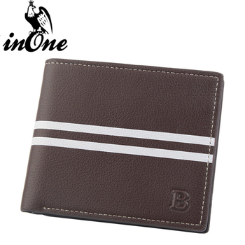 Fashion Boy Solid Color Stripes Stitching with Letter B Short Coin Purses Bags Wallet for Men 2019