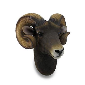 Ram Head Bust Sculptural Wall Hanging Mounted Decoration