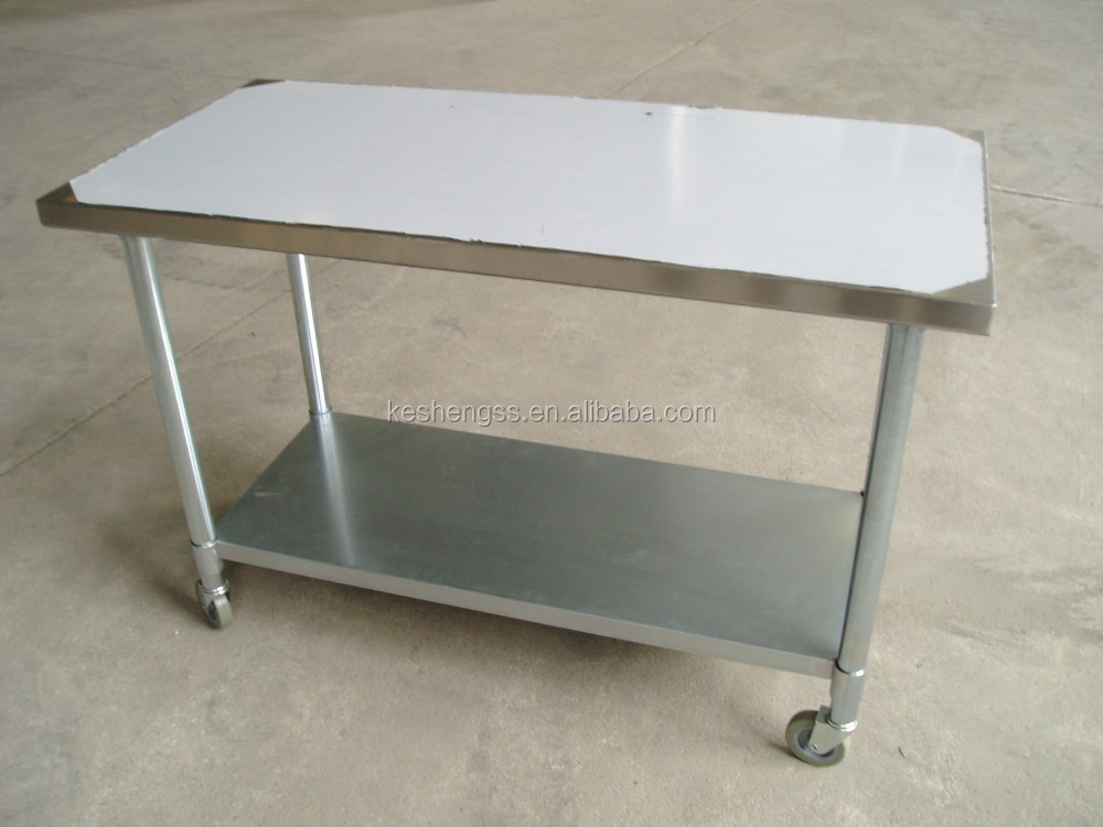 Manufacturer stainless steel work table with wheels stainless steel work table with wheels - Commercial kitchen tables on wheels ...