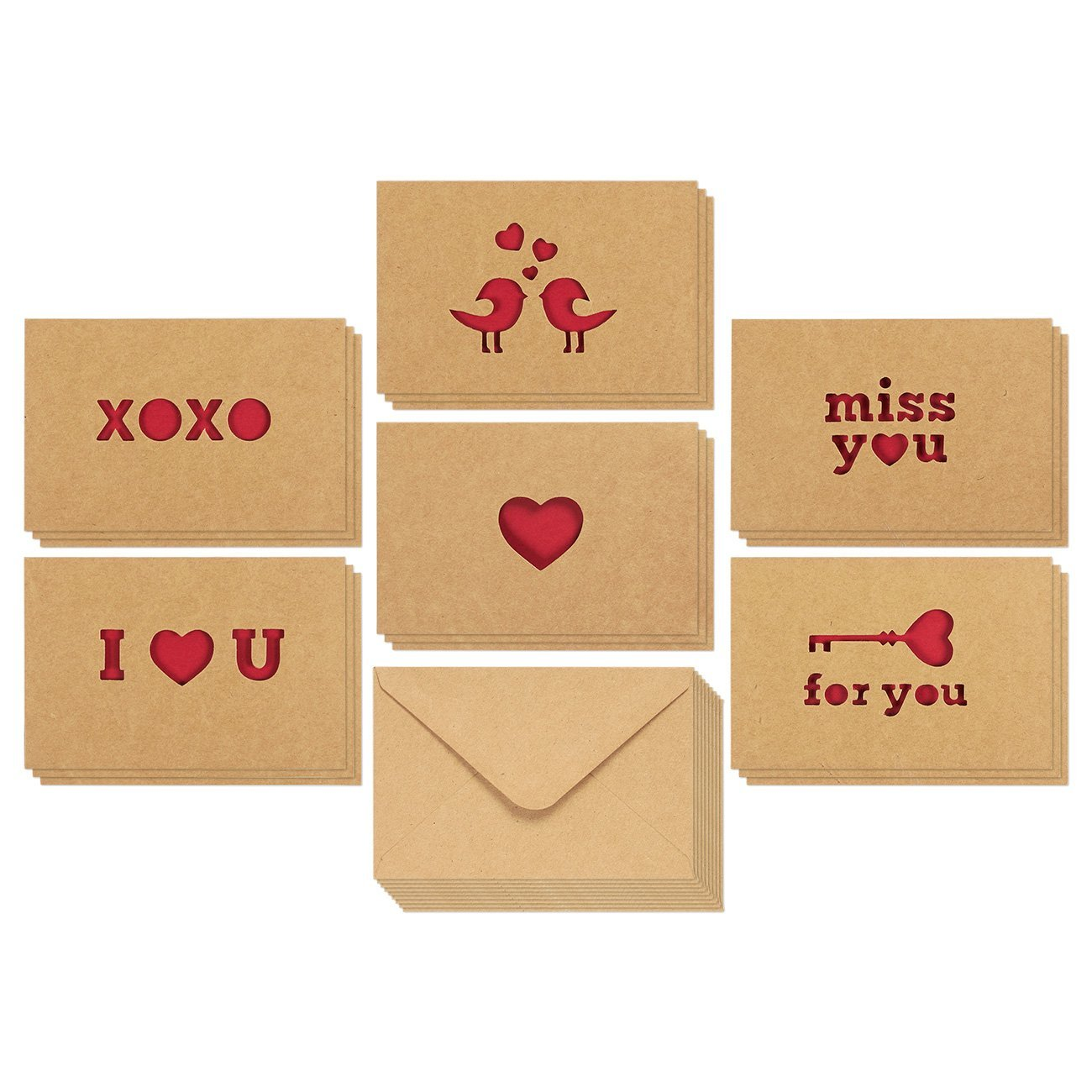 Love Cards - Romantic Greeting Cards for Valentine's Day, Anniversaries, 6 Assorted Kraft Card Designs with Miss You, I Love You